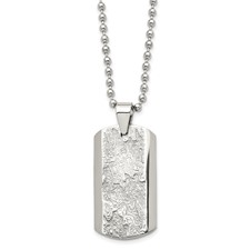 Chisel Stainless Steel Polished and Textured Necklace