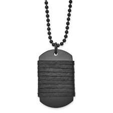 Chisel Stainless Steel Brushed Dog Tag Wrapped Leather Necklace