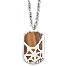 Chisel Stainless Steel Tiger's Eye Polished Dog Tag Necklace
