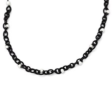 Chisel Black Fabric with White Fresh Water Cultured Pearls Necklace