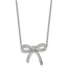 Chisel Stainless Steel Crystal Polished Bow Necklace with 1.75 inch extension
