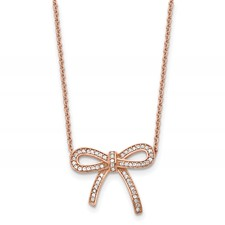 Chisel Stainless Steel Crystal Polished Rose IP-Plated Bow Necklace with 1.75 inch extension