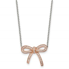 Chisel Stainless Steel Polished Rose IP-Plated Crystal Bow Necklace with 1.75 inch extension