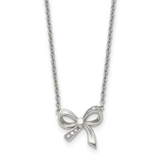 Chisel Stainless Steel Polished CZ Bow Necklace with 1.75 inch extension