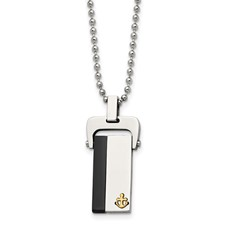 Chisel Stainless Steel Polished Yellow Black IP-plated Dog Tag Necklace