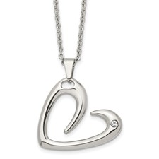 Stainless Steel Polished Heart with Crystal Necklace