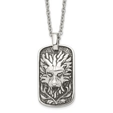 Stainless Steel Polished and Antiqued Lion Dog Tag Necklace
