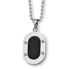 Chisel Stainless Steel Black Carbon Fiber Necklace