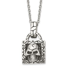 Stainless Steel Polished and Antiqued Skull Necklace
