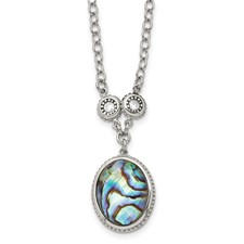 Stainless Steel Polished/Antiqued Synthetic Abalone/CZw/1.5in ext. Necklac