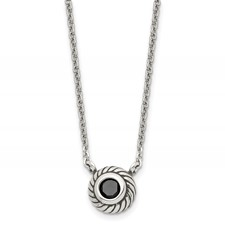 Stainless Steel Polished Black CZ Circle w/1in ext. Necklace