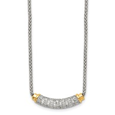 Stainless Steel Polished Yellow PVD-plated CZ Bar w/2in ext. Necklace
