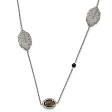 Stainless Steel Polished Smoky Quartz/Black Onyx w/2in ext. Necklace