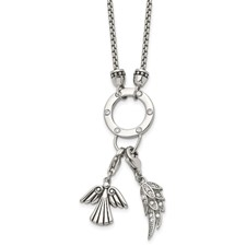 Stainless Steel Polished CZ Charm Feather/Angel w/2in ext. Necklace