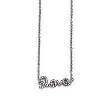Stainless Steel Polished Crystal Love Necklace