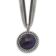 Stainless Steel Polished Blue Sandstone w/2in ext. Reversible Necklace