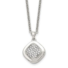 Stainless Steel Polished CZ Square w/2in ext. Necklace