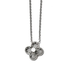 Stainless Steel Polished CZ Flower Necklace