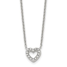 Stainless Steel Polished Heart with CZs Necklace