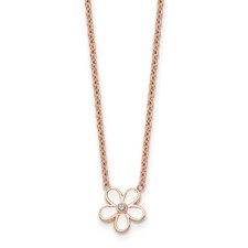 Stainless Steel Polished Pink IP-plated/Enameled Flower w/CZ Necklace
