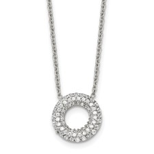 Stainless Steel Polished Circle with CZs Necklace