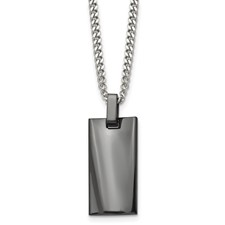 Stainless Steel Polished Black IP-plated Rectangle Necklace