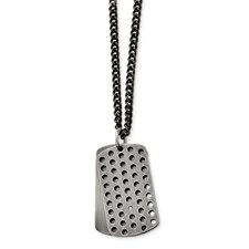 Stainless Steel Brushed Black IP-plated w/CZ Movable Dog Tag Necklace