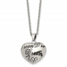 """Stainless Steel Polished Heart """"Dream"""" Necklace"""