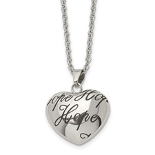 Stainless Steel Polished and Enameled Hope Heart Necklace