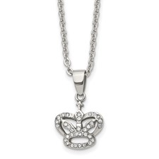Stainless Steel CZ Crown Necklace