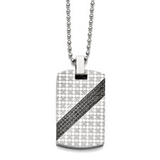 Stainless Steel Polished 1/2ct tw. Diamond Dog Tag Necklace