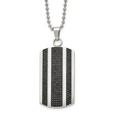 Stainless Steel Polished 1ct. tw. Diamond Dog Tag Necklace