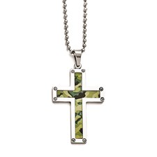 Stainless Steel Polished Camoflage Cross Necklace