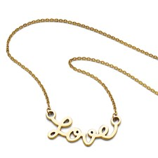 Stainless Steel Polished Yellow IP-plated Love Necklace