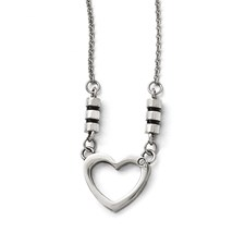 Stainless Steel Polished Black Enamel CZ Heart Necklace