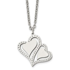 Stainless Steel Polished Hearts with Crystals w/ 2.25in. Ext. Necklace