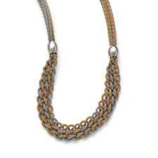 Stainless Steel Yellow/Rose IP-plated Braided Mesh Necklace