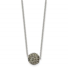 Stainless Steel Polished Black Enamel w/Crystals w/2in ext. Necklace
