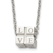 Stainless Steel Polished Love Box Necklace
