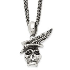 Stainless Steel Polished and Antiqued Skull with Feather Necklace
