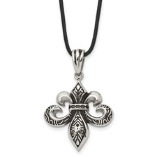 Stainless Steel and Polished Fleur de Lis Necklace
