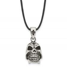 Stainless Steel Polished and Antiqued Moveable Skull Necklace