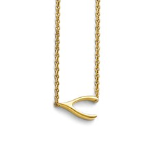 Stainless Steel Polished Yellow IP-plated Sideways Wishbone Necklace