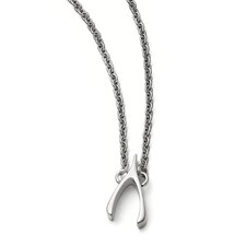 Stainless Steel Polished Wishbone Necklace
