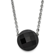 Stainless Steel Polished Dark Brown Glass w/1in ext Necklace