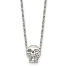 Stainless Steel Polished Skull Necklace