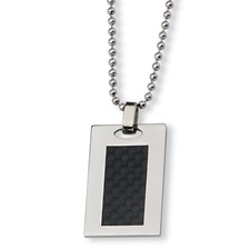Chisel Stainless Steel Black Carbon Fiber Necklace