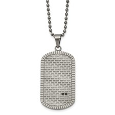Stainless Steel Antiqued Polished and Brushed CZ Necklace