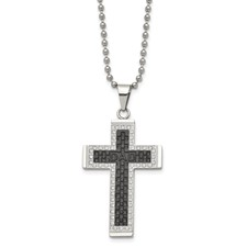 Stainless Steel Polished Black IP-plated CZ Cross Necklace