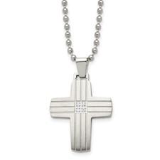 Stainless Steel Polished and Brushed CZ Cross Necklace
